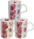Trailing Rose Fine Bone China Mugs - Set of 3