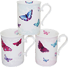 Butterfly Bone China Mug - Set of 3