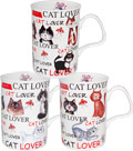 Love My Cat Bone China Mugs - Set of 3