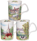 English Country Scene Bone China Mugs - Set of 3