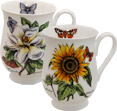 Botanical Flowers with Butterflies, Set of 2 Bone China Mugs