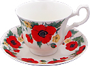 Monet Poppy Flower, Cup and Saucer Set