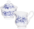 English Chintz Blue Rose - Cream & Sugar Set