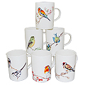 Set of 6 Bird Mugs