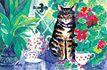 Conservatory Cat - Linen Tea Towel