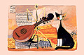 Musical Cat - Linen Tea Towel