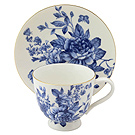 Blue and White Teacups and Saucers - Peony Flowers