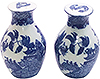 Vase Shaped Blue Willow Salt and Pepper Shakers, 2-5/8H