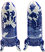 Rocket Shaped Blue Willow Salt and Pepper Shakers, 3.5H