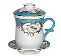 Bluebird Tea Mug with Cover, Strainer and Saucer Gift Set