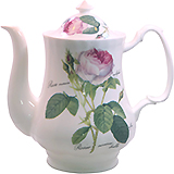 Redoute Rose Bone China Coffee Pot and Lid - 8 Cup