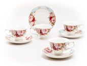 Small 3-Ounce Cup & Saucer Sets - Blue Strawberry Rose, Set of 4