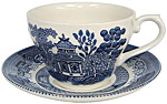 Churchill, Blue Willow Ware - Cup and Saucer Set