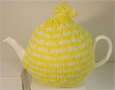 Knitted Tea Cozy, Yellow Stripes, Medium 4-5 Cup