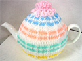 Knitted Tea Cozy, Striped Multi-color, Medium 4-5 Cup