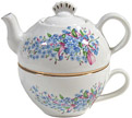 Tea-for-one - Forget-me-not w/ Pink Ribbon