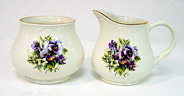 Pansy Flowers - Cream & Sugar Set