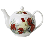 Poppy Fine Bone China Teapot, 6-Cup