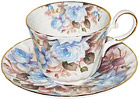 Sorrento Rose - Bone China Tea Cup and Saucer, Blue