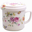 Lidded Tea Mug with Strainer, Flower and Butterfly