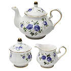 Teapot with Cream and Sugar Set, Blue Rose